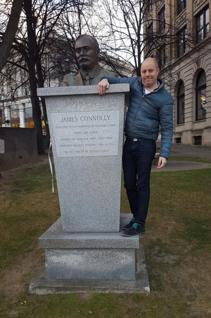 Me with James Connolly statue, Troy NY